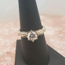 Sterling Silver And Clear Cz Engagement Ring Size 8