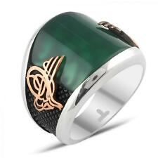 Turkish Ottoman Green Agate Gemstone Solid 925 Sterling Silver Mens Ring