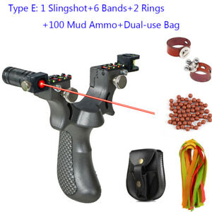 Professional Hunting Catapult Laser Slingshot or with 6 Rubber Bands+Balls+Rings
