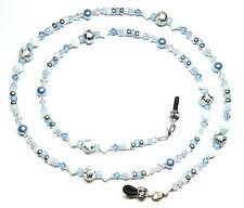 White Alabaster / Light Sapphire Austrian Crystal Glacier Ice Eyeglass Chain