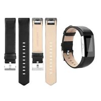 Genuine Leather Replacement Sport Strap Band Wristband Black For Fitbit Charge 2