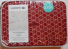 LACOSTE BRUSHED TWILL SHEET SET QUEEN TENNIS GEO RED 100% COTTON NEW AUTHENTIC