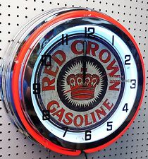 """18"""" RED CROWN Gasoline Sign Double Neon Clock Gas Station Lube"""