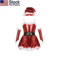 US Xmas Kids Girl Ballet Dance Dress Santa Leotard+Hat Outfits Christmas Costume