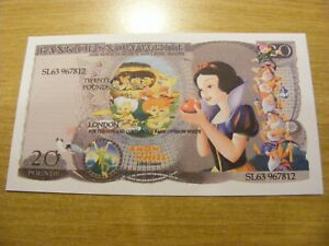A Bank of Snow White Novelty 20 Pound Note -  nice condition