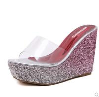 Womens Flip Flops High Wedge Heel Sequins Slipper Sandals Shoes Slip On Slipper