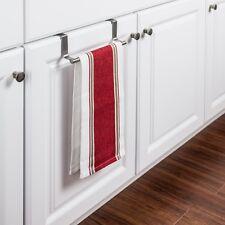 Over The Door Kitchen Cabinet Dish Towel Holder Bar Dishcloth Rack Hanging Steel