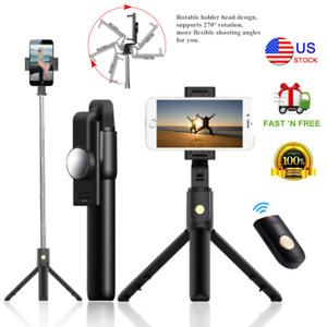 For iPhone Samsung S21 S20 Bluetooth Selfie Stick Tripod Wireless Remote Shutter
