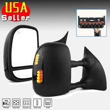 for 99-07 Ford F250 F350 Super Duty Tow Mirrors Power Heated Smoke Turn Signals