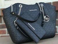 Michael Kors MK Black  Signature  Jet Set Travel Chain Shoulder Tote Wallet Set
