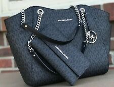 f2309e5a835b Michael Kors MK Black Signature Jet Set Travel Chain Shoulder Tote Wallet  Set