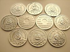 10 Lot Alcoholics Anonymous AA 24 hour Aluminum Medallion Coin Token chip Sober