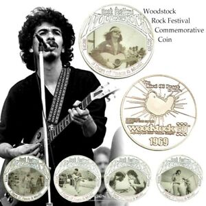 Set of 5 Woodstock 1969 Rock Festival Silver Commemorative Coin 50th Anniversary