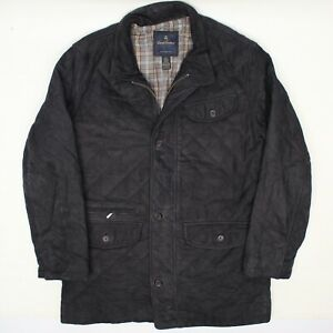 Brooks Brothers Mens Leather Jacket L Dark Blue Quilted Suede Coat Zip Button Up