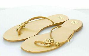 D47 $248 Women's Sz 9.5 M Tory Burch Capri Leather Thong Sandal In Goldenrod