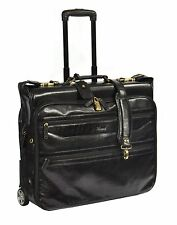 Exclusive LEATHER Suit Carrier Dress Garment Travel Weekend Bag On Wheels Black