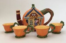 Department 56 Decorative Pumpkin House Teapot W/ 4 Cups Halloween Fall Decor