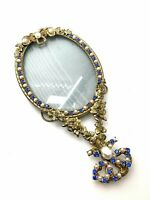 VTG Victorian M.W. Carr Picture Frame Mirror Jeweled Signed Figural Gilt Brass