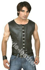 SEXY Mens Real Leather Steel Boned & REAR LACED Corset Top Vest  Most Sizes