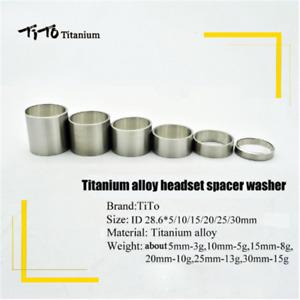 TiTo Titanium Bicycle Headset Stem Spacers 5/10/15/20/25/30 mm Bike Stem Spacer