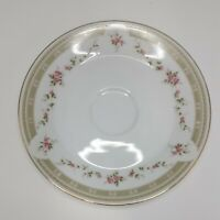 """MIKASA GLORIA BREAD BUTTER PLATE 6"""" PINK FLOWERS GREEN BAND GOLD TRIM Preowned"""