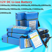 DC12V 1800-20000mAh Super Rechargeable Li-ion Battery Pack+UK/US/EU Plug Charger