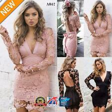 Women V Neck Long Sleeve Backless Cocktail Evening Party Lace Mini Dress A042