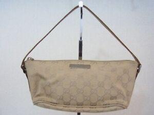 Auth SK04 GUCCI GG canvas accessories pouch mini handbag