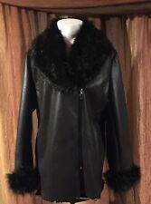 NEW Iman Platinum Collection Black Fashion Faux Fur Trim Jacket Coat Women's XL