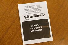 Voigtlander 1:1.9 28 mm ULTRON Aspherical: Istruzioni - Instructions