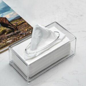 Acrylic Tissue Box Cover Clear Tissue Holder Napkin Dispenser Home Office Car UK