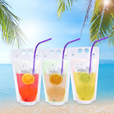 50x 17oz Handheld Translucent Disposable Drinkware Drink Pouches with Straws Fda