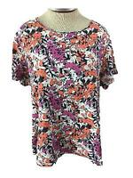 Westbound Woman knit top size 2X purple orange black floral short sleeve cotton