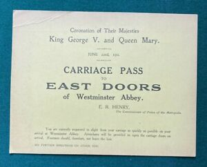 Antique Royal British Coronation Carriage Pass Ticket King George V Queen Mary
