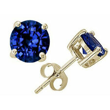 14K SOLID YELLOW GOLD BLUE SAPPHIRE ROUND CUT STUD PUSH BACK EARRINGS All Sizes