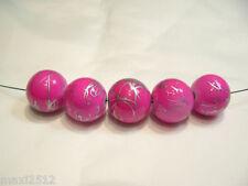 Bna149g: 10 x cerise / Argent Perles Acrylique Rond 16mm