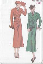 1936 Vintage Näh Muster B34-36-38 Anzug-Rock & Jacke (R775)