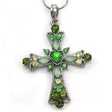 Green Cross Rhinestone Crystal Necklace Chain Pendant