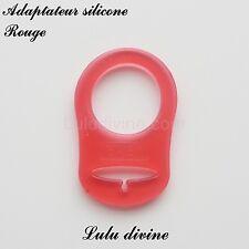 Adaptateur en silicone pour tétine et création attache tétine : Rouge