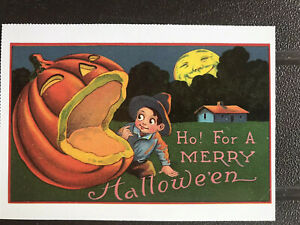 POSTCARD UNUSED HALLOWEEN- HO! FOR A MERRY HALLOWEEN- REPRODUCTION