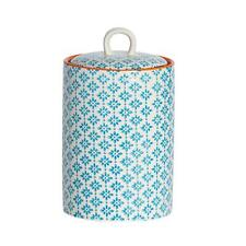 Tea Coffee Sugar Canister Porcelain Kitchen Food Storage Orange Print Design x1