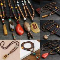 National Retro Handmade Wooden Beads Men Women Sweater Chain Pendant Necklace