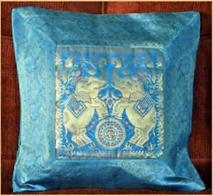 Brocade Silk Pillow Cover in Turquoise Blue Color with Gold Color from India