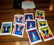 Lot box of 9 GEORGE RODRIGUE BLUE DOG NOTE CARD (for COLLAGE and get framed!)