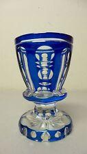 BOHEMIAN CZECH CASED OVERLAY CUT GLASS BEAKER / TUMBLER, ROYAL BLUE (#3)