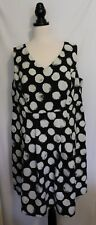 AUTOGRAPH ~ Black & White Large Polka Dot Fitted Sleeveless V Neck Dress 18