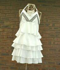 Saint Shylo Size 10 White Dress A Lined Tier Ruffle Sleeveless Embellished Party