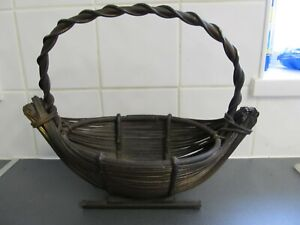 Beautiful Vintage Wicker Picnic Shopping Basket 29cm Tall inc Handle