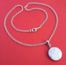NEW! White Howlite Gemstone Round Pendant Necklace Women's Teen - Aussie Seller!