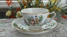 Vintage Crown Staffordshire China Tea Cup & Saucer Evangelines Arcadian Gardens